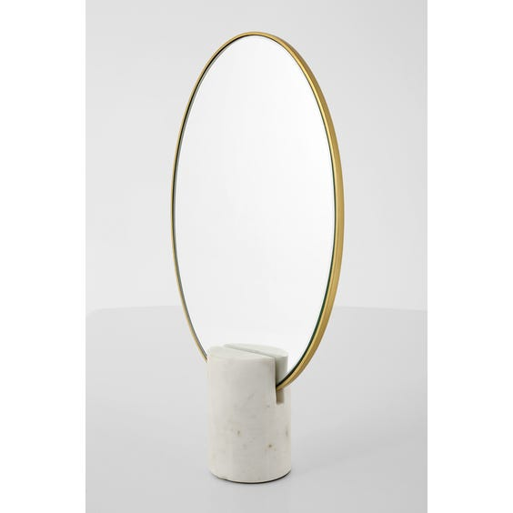 Brass oval Art Deco style mirror image
