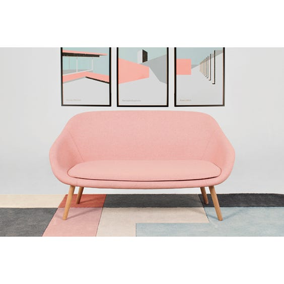 Powder pink wool sofa image