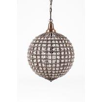Crystal bead globe pendant lamp