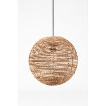 Circular natural straw pendant shade