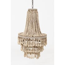 Ethnic putty wooden beaded chandelier