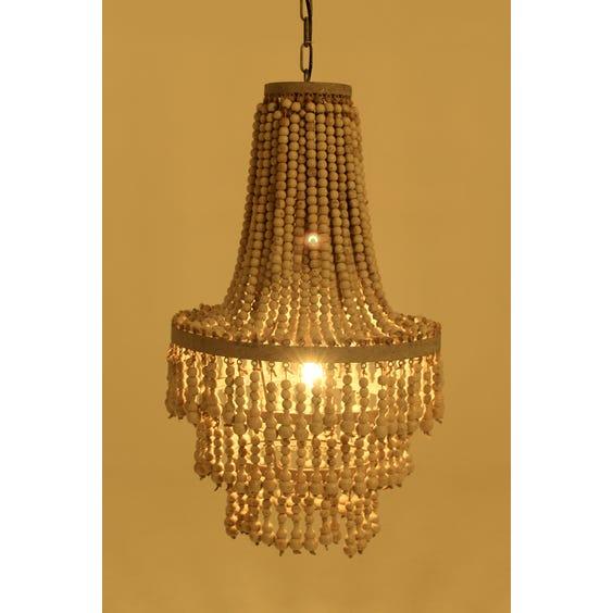 Ethnic putty wooden beaded chandelier image
