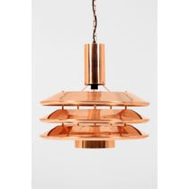 Large copper industrial pendant lamp