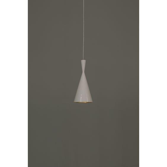 Modern gloss white tall cone pendant lamp  image