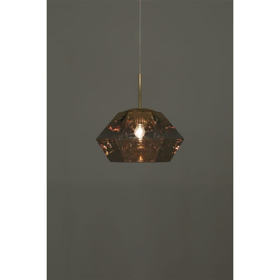 Modern gold tinted cut squat diamond pendant lamp image