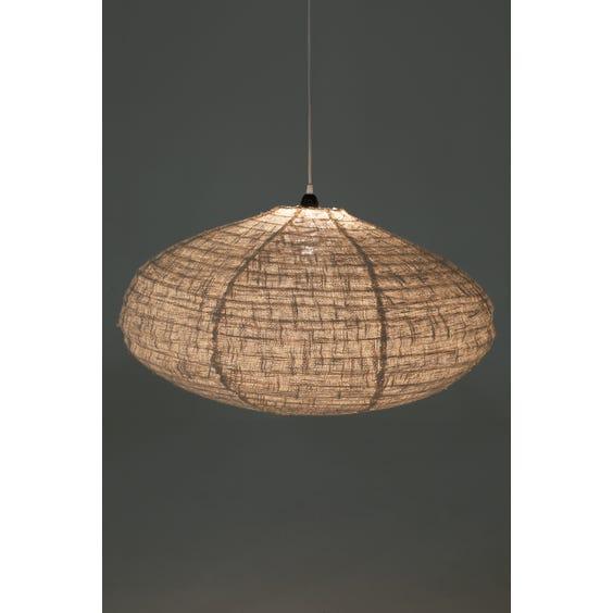 Large linen oval pendant light image