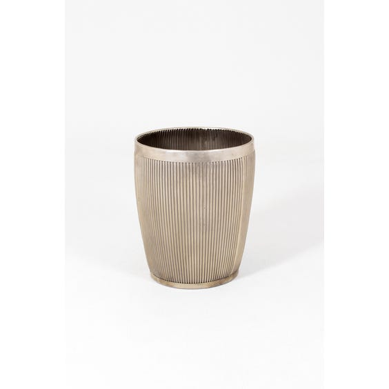 Large ribbed metal plant pot image