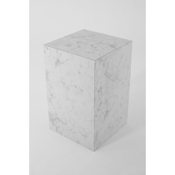 Large square white and grey faux marble plinth image