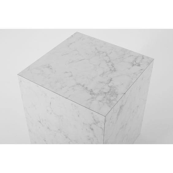 Medium square white and grey faux marble plinth  image
