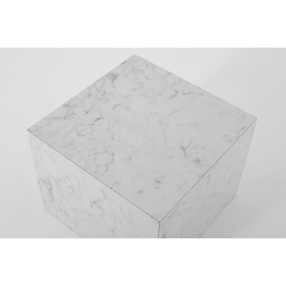 Small square white and grey faux marble plinth image