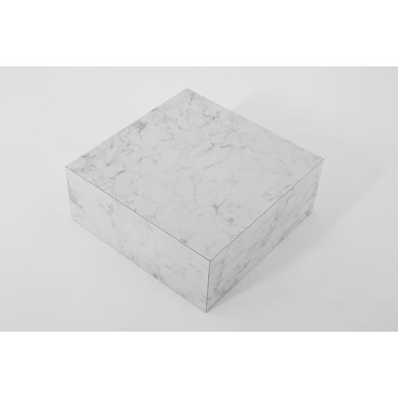 Low square white and grey faux marble plinth  image