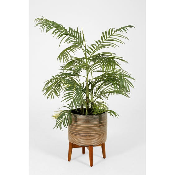 Pewter ceramic plant stand image