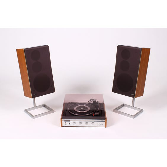 Vintage 1970s teak record player set image