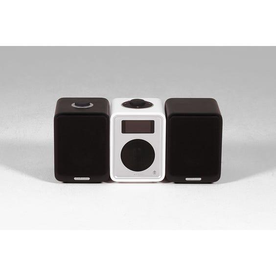 Small white radio and speakers image