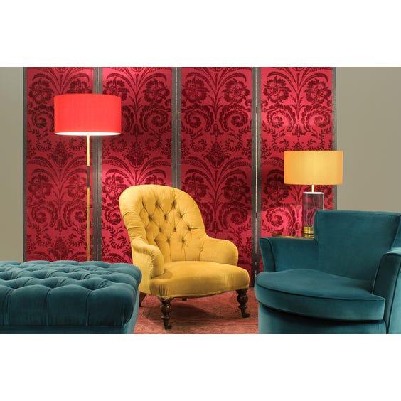 Dark teal buttoned velvet footstool image