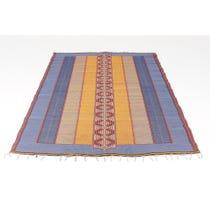 Woven striped plastic woven mat