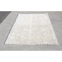 Large cream shag pile rug