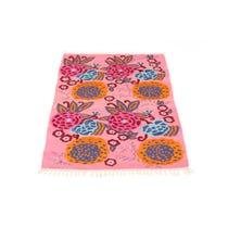Pink floral woven floor mat