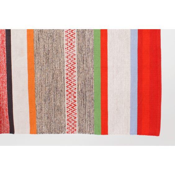 Multi-coloured stripe flat weave rug image