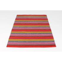Bright multi-coloured stripe woven rug