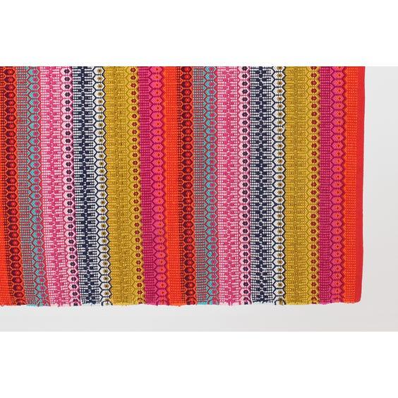 Bright multi-coloured stripe woven rug image