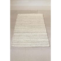 Warm cream natural wool knotted rug