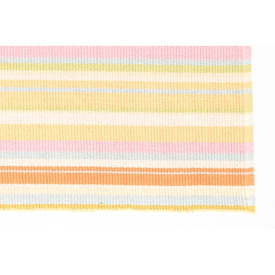 Multi-coloured pastel striped woven rug image