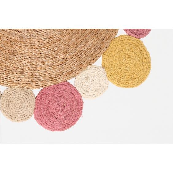Small straw pastel coloured circles rug image