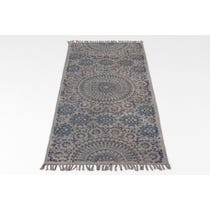 Blue/grey geometric woven runner rug