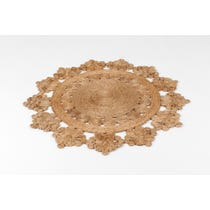 Straw coloured doily pattern rug