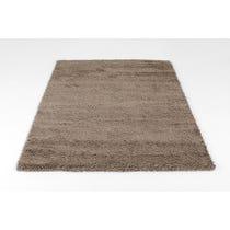 Pale khaki shag pile wool rug