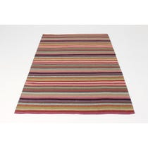 Warm colours striped woven rug