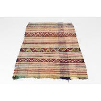 Multicolour striped flat weave rug