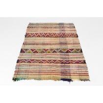 Multicolour striped flat weave rug