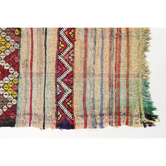 Multicolour striped flat weave rug image