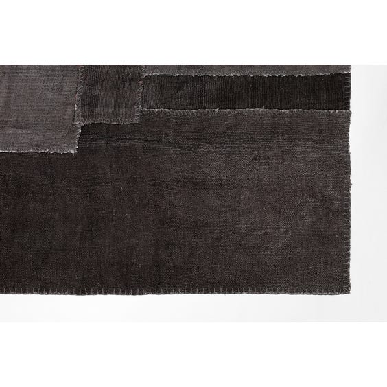 Slate grey woven patchwork rug image