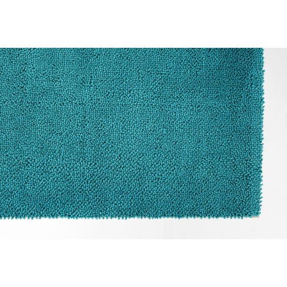 Turquoise wool rectangular rug image