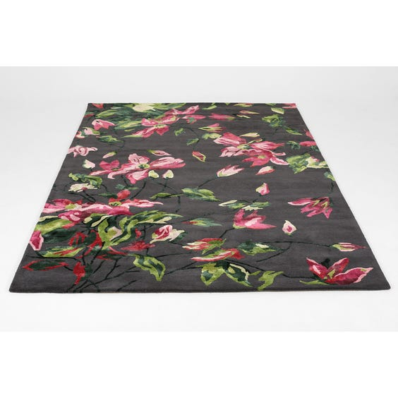 Pink and green floral rug image