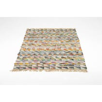 Multicoloured handmade flat weave rug