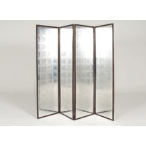 Silver leafed grid mirror screen