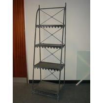Decorative grey metal shelving unit