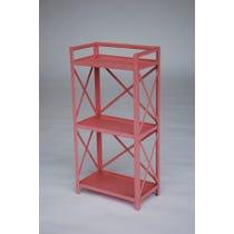 Pink metal shelving unit