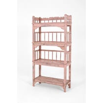 Rustic pink painted shelving unit