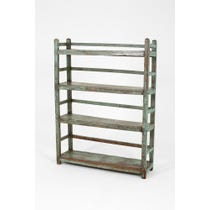 Turquoise green wooden shelving unit