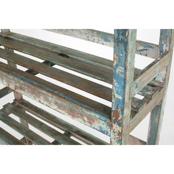 Rustic painted shelving unit image