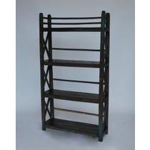 Distressed painted dark wood shelves