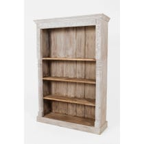 White washed carved bookcase