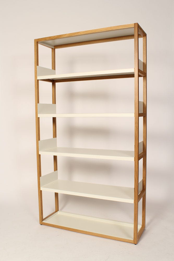 Oak And White Metal Shelving Unit Hire Rental Granger Hertzog