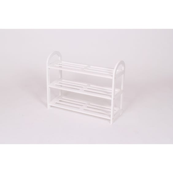 White tiered slatted shoe rack image