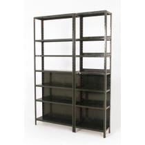 Pair of industrial green shelving units